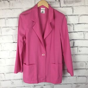 Bobbie Brooks bright pink 1 button blazer